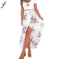 26a7cc189cc Flower Printing Long Skirt Women Elegant Beach Maxi Skirt Boho Sexy As