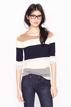 Tippi sweater in colorblock stripe. J Crew is killing me this season. Look Fashion, Fashion Beauty, Fashion Outfits, Modest Fashion, Womens Fashion, Fashion Trends, Vogue, Girly, Color Block Sweater