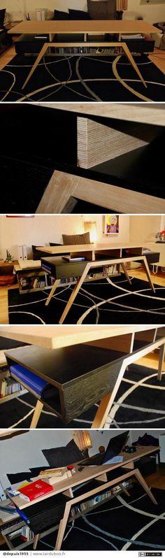 """Bureau Design par depuis1955 - un bureau monté sur talons aiguilles là encore je suis parti d'une demande précise : """"j'aimerais un bureau un peu plus bas que la norme (H 70cm) pour être installée sur la banquette-tatami assise , en..."""