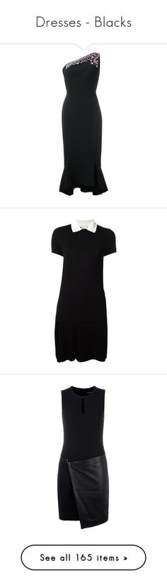 """""""Dresses - Blacks"""" by servayne ❤ liked on Polyvore featuring dresses, black, peter pilotto, off one shoulder dress, peter pilotto dress, embroidered cocktail dress, one shoulder dress, t-shirt dresses, red valentino dress and viscose dresses"""