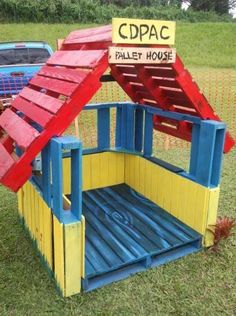 Pallet Playhouse for kid goats or the human variety! Fill wide gaps between planks with scrap boards or plywood to prevent hoof entrapment & injury
