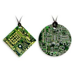Necklace of recycled printed circuit board -- be a part of the online world at all times!