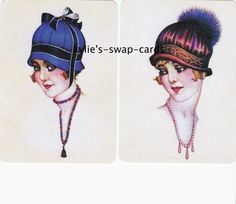 081 LOVELY LADIES swap playing cards MINT COND pretty art deco style lady in hat