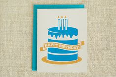Cake Birthday Card by FMCstudio. Screen printed by hand.