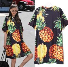 Womens Fruits Floral Mid Length Dress Deep Crew Neck Thailand Style Skirts Causa