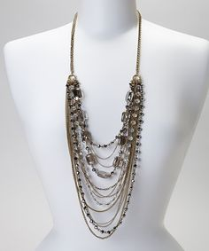 Take a look at this Gold & Gray Multi-Strand Necklace by Fantasy World Jewelry on #zulily today!