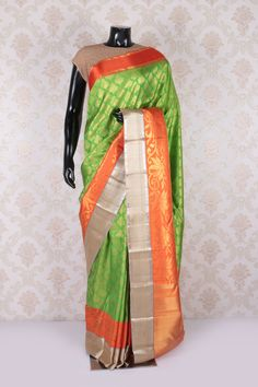 #Green multicoloured pure kanjeevaram #silk marvellous #saree with #gold multicoloured border -SR11617