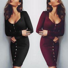 Stylish Women Low Cut Buttoned Bodycon Dress