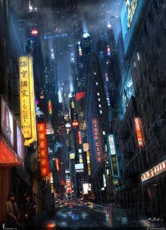 Cyberpunk, Neo Noir, Neon City by Vladimir Manyuhin; or high tech, yet rundown