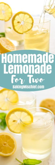 This Homemade Lemonade for Two couldn't be easier to make and is everything summer lemonade should be, bright, crisp, sweet, and just the perfect level of tart.