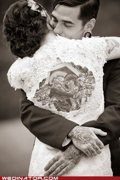 love the dress, love the tattoo, love this couple