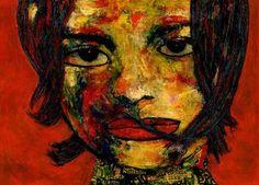 "Saatchi Art Artist CARMEN LUNA; Painting, ""6-RETRATOS Expresionistas. Poetisa."" #art  http://www.saatchiart.com/art-collection/Painting-Assemblage-Collage/Expressionist-Portrait/71968/51263/view"
