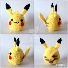 Handmade Needlefelt Pikachu (Pokemon) by fluffy288