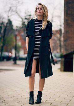 look stripes dress black trench coat