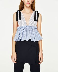 CONTRAST STRIPED TOP-View All-TOPS-WOMAN | ZARA United States