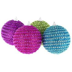 Have a holly, jolly, ultra bright Christmas! Trim your tree with delightfully shimmery ornaments, like Beaded Jewel Ball Ornaments. These plastic, shatter proof ornaments feature stripes of small, faceted gems and glitter in hot pink, purple, lime green, and teal. Make this one a Christmas to remember!
