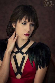 Black feather shoulder epaulette feather wings by CostureroReal