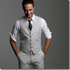 Suit pants and vest, but in a darker grey jake would most defiantly be more comfortable with his sleeves like this :)