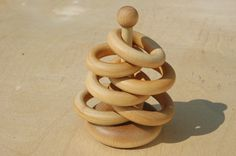 Montessori Inspired Little Stacker Natural Wooden Baby Toy via Etsy