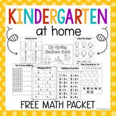 Kindergarten At Home Math Packet
