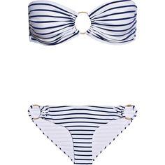 Melissa Odabash Evita striped bandeau bikini (485 RON) ❤ liked on Polyvore featuring swimwear, bikinis, navy, gold bikini, striped bikini, bikini beachwear, bandeau bikinis and embellished bikini
