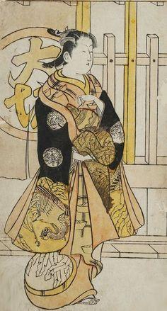 Courtesan of Osaka. Ukiyo-e woodblock print. 1720's, Japan, by artist Nishimura Shigenobu.