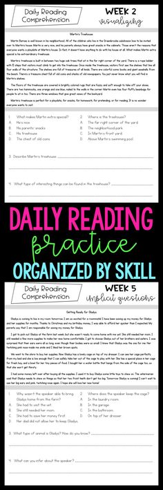 Give your 3rd and 4th grade students daily reading practice and review with these brief passages and questions. There are 30 original fiction and nonfiction reading passages with 2 multiple choice and 2 short answer questions for each passage. There is a focus skill for each week of passages. These can be used as morning work, homework, exit slips, and more!
