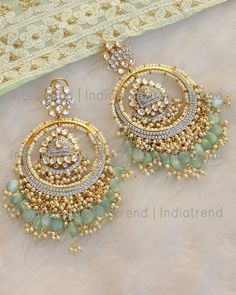 Gold Tone Earrings Studded With Simulated Polki, CZs & dangling Faux Pearl and Mint green Beads. Indian Jewelry Earrings, Indian Jewelry Sets, Jewelry Design Earrings, Indian Wedding Jewelry, Ear Jewelry, Pakistani Jewelry, Jewlery, Antique Jewellery Designs, Fancy Jewellery