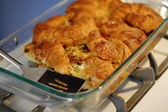Croissant Breakfast Strata: Moore Moore Massey deemed this recipe perfect for Christmas morning brunch! Breakfast Strata, Breakfast Dishes, Breakfast Time, Breakfast Recipes, Breakfast Casserole, Christmas Brunch Menu, Christmas Morning Breakfast, Morning Food, Brunch Recipes