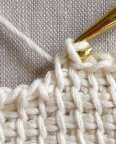 Tunisian Crochet Basics - Crochet Tutorials - Knitting Crochet Sewing Embroidery Crafts Patterns and Ideas! Tutorial for Crochet, Knitting. Crochet Fabric, Knit Or Crochet, Learn To Crochet, Crochet Crafts, Crochet Hooks, Crochet Projects, Crochet Tutorials, Double Crochet, Sewing Tutorials