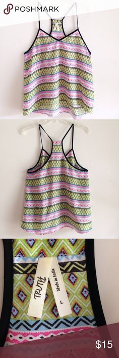 """NWOT Truth nyc Flowy Halter Top NWOT Size L Non Stretchy material  100% polyester  Approximate measurements: Front Length 25""""  Back length 28"""" Armpit to armpit 19"""" Truth NYC Tops"""