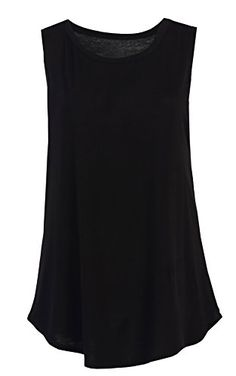 Flowy Relaxed Cool Loose Fit Tank Tops: Workout Rayon Knit Jersey Regular and Plus Size Blk XL -- Visit the image link more details.