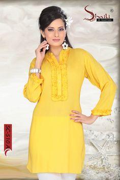WONDERFUL YELLOW COLOR RAYON LONG KURTI by Snehal Creation Kurti, Dresses With Sleeves, Yellow, Long Sleeve, Color, Fashion, Moda, Sleeve Dresses, La Mode