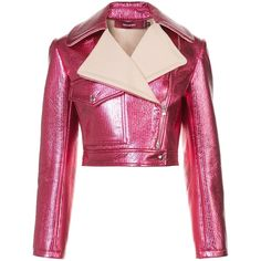 Sies Marjan Cropped Moto Jacket (6.875 RON) ❤ liked on Polyvore featuring outerwear, jackets, clothing /, kirna zabete, metallic moto jacket, moto jacket, rider jacket, pink zip up jacket and cropped jacket