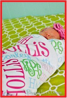 Monogrammed Baby Blanket Personalized Baby Blanket Photo Prop Custom Swaddle Blanket Newborn Baby Shower Gift Baby Girl Applique