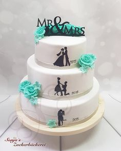 Hochzeit  Türkis mit Silhouette Wedding Cakes, Birthday Cake, Silhouette, Wedding Ideas, Desserts, Food, Weddings, Cake Wedding, Bakken