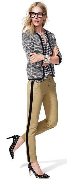 Tweed + gingham + tuxedo stripe