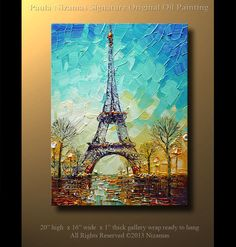 ORIGINAL abstrait contemporain Tour Eiffel peinture à par Artcoast