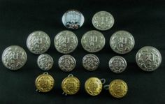 SOLD!  Buttons Lot Police Waterbury Brass Laurel Wreath Houston Texas P