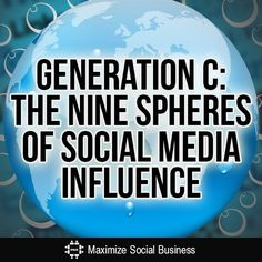 Generation C: The Nine Spheres of Social Media Influence---The term Gen C has been around a while but unlike Gen X, Y or Z, Gen C comprises all consumers or prosumers from 8 to 88 (and beyond).  Take a look at how the dynamic traits of Gen C affect different spheres of our daily lives through social media.