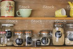 Vintage Kitchen Hutch with baking ingredients royalty-free stock photo