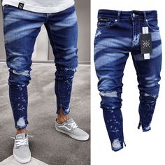 men outfits - Fashion Contrast Color Slim Fit Ripped Men's Jeans Slim Fit Ripped Jeans, Skinny Biker Jeans, Ripped Jeans Men, Denim Pants Mens, Jeans Denim, Destroyed Jeans, Stylish Men, Fashion Pants, Men Fashion