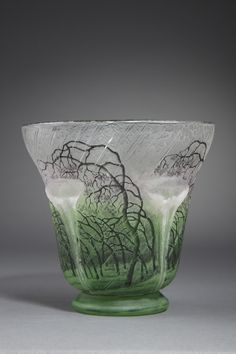 ** Daum Frères, Nancy, Acid Etched, Enameled Glass Vase.