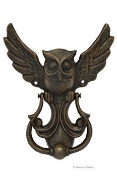Victorian-Style Brown Cast Iron Flying Owl Decor Door Kno...