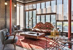 American designer Kelly Wearstler has used clashing patterns, colours and textures to decorate a hotel in San Francisco, along with European furniture. Interior Design Blog, Hotels Design, Luxe Furniture, Luxury Interior Design, Interior, Kelly Wearstler, Best Interior Design, Contemporary Decor, Home Decor