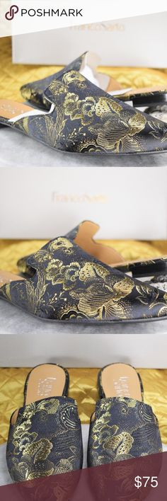 Franco Sarto Black Floral Mule Flats Women's 8 8.5 These are beautiful black & green floral mule flats by Franco Sarto, new in box.  *Our Posh Closet & eBay is how we provide for our children! If you appreciate old school quality - you're in the right place. We don't just sell products, we put time & work into them. We ship fast, usually within 1 business day! Enjoy! Shoes Mules & Clogs