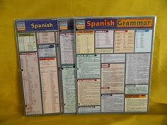 Barcharts Spanish Verbs, Grammar & Vocabulary Titles, Quick Study Guide, VG #StudyGuide