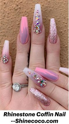 Bling Acrylic Nails, Sparkle Nails, Best Acrylic Nails, Rhinestone Nails, Acrylic Nail Designs, Gel Nails, Manicures, Coffin Nails, Nail Polishes