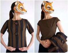 Vintage 60s Matching Black and Brown Striped Jacket and Tank Shell with Wooden…