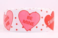 """3"""" Wide Be Mine Valentine Hearts on White Grosgrain Cheer Bow Ribbon"""